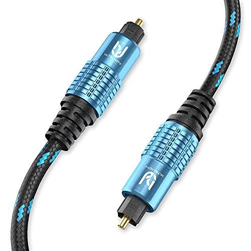 Ultra HDTV Premium Toslink Kabel - Optisches Audiokabel Digitalkabel mit Knickschutz Nylon-Mantel, Zugentlastung und Vollmetall Steckern mit Perfekter Passgenauigkeit (inkl. Schutzkappen) (1 Meter)