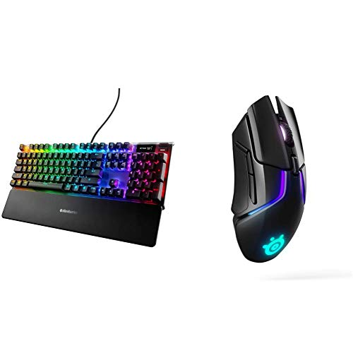 SteelSeries Apex Pro Mechanical Gaming Keyboard & Rival 650 Quantum Wireless Gaming Mouse - Rapid Charging Battery - 12, 000 Cpi Truemove3+ Dual Optical Sensor - Low 0.5 Lift-Off Distance
