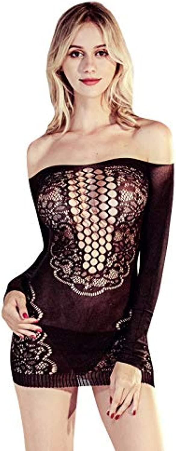 Sexy Lingerie Women's Mesh Black OffTheShoulder Lace Lace Breasts Sexy Lingerie Long Paragraph Female Nightdress Perspective Wear Fun Pajamas