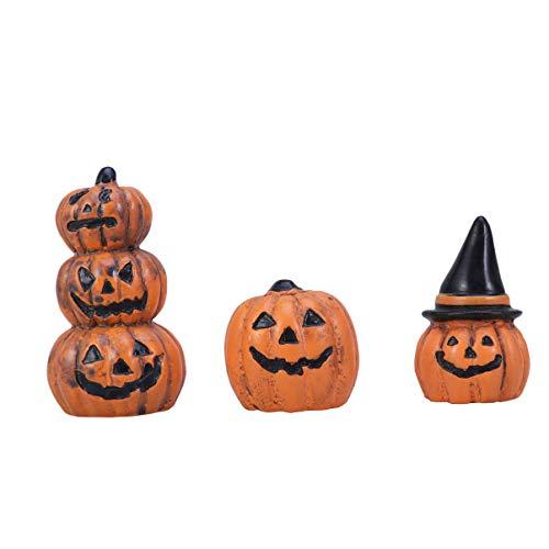 Yardwe 3 Piezas Decoraciones de Figuras de Calabaza en Miniatura de jardín de Hadas de Halloween Adornos Accesorios de casa de muñecas favores de Fiesta de Halloween Rellenos de Bolsas