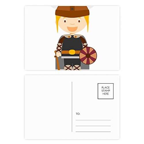 DIYthinker Schweden Viking-Karikatur Postkarten-Set Geburtstag dankt Karte Mailing Side 20pcs 5.7 Zoll x 3.8 Zoll Mehrfarbig