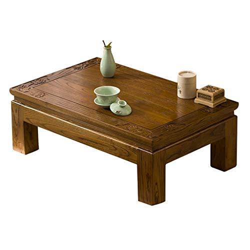 Tables Balcon Baie vitrée Tatami Basse Elm Tea Court Salon Cérémonie Salon de thé Basse Basses (Color : Brown, Size : 50 * 40 * 25cm)