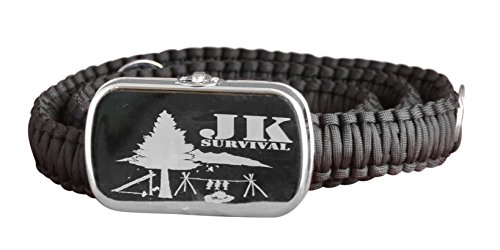 JK Survival Paracord Belt with Survival Supplies stored in The Buckle (Black, Med)