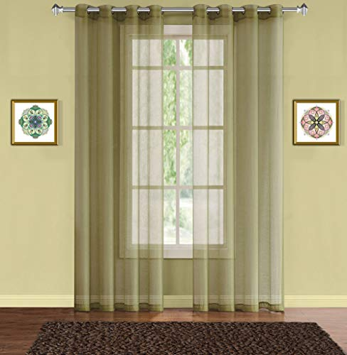 """WARM HOME DESIGNS Pair of 2 Long Size 54"""" (Width) x 108"""" (Length) Sage Green Sheer Window Curtains. 2 Elegant Voile Panel Drapes are 108 Inch Wide Total - K Sage 108"""""""