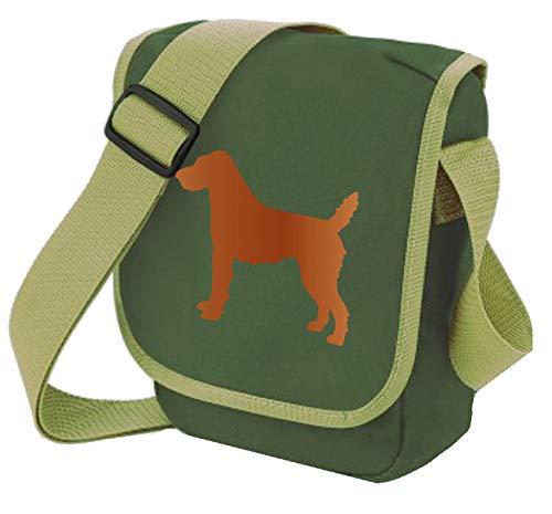Patterdale Terrier Tasche Hund Walker Schultertasche rauer oder glatter Mantel 27 x 17 x 7 cm, Grün - Rauhfell rot auf oliv - Größe: Small/Medium