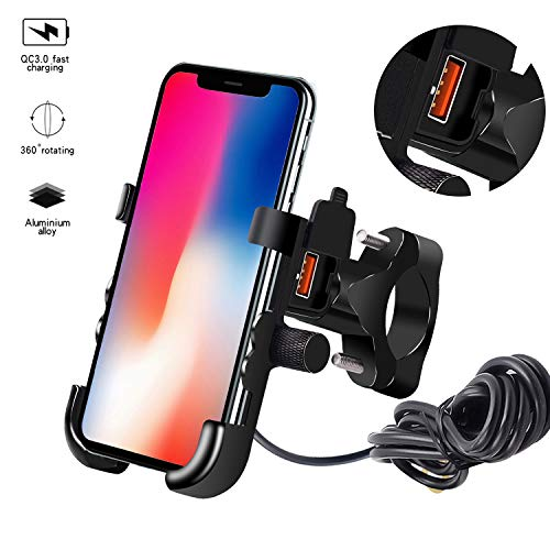 Kriogor Motorrad Handyhalter, QC 3.0 USB Steckdose mit 360°Drehbar Handyhalterung und 1,5m Verbindungskabel, 12V Wasserdicht Universal für 4-6,5 Zoll Smartphone iPhone/Samsung/Huawei/Android