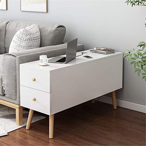 Mesa final, mesa lateral del sofá con cajón, gabinete de almacenamiento de sofá, mesita de noche de madera para sala de estar, Berdoom Mesa de Centro Decorativa ( Color : White , Size : 80x30x60cm )