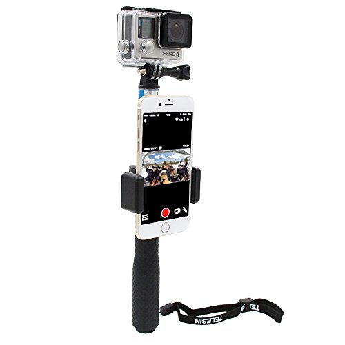 Telesin autoritratto il cellulare con chiusura clip per telefono cellulare per GoPro monopiede, selfie stick, universale per il cellulare display Lock per GoPro