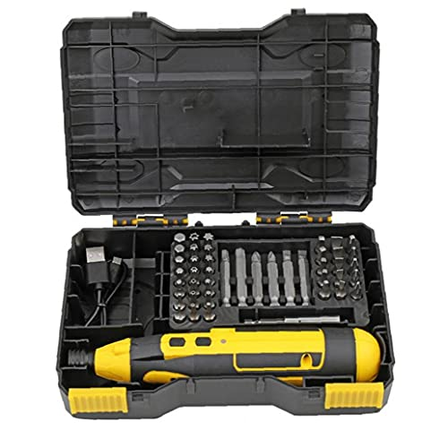 Electric Screwdriver 4V Cordless Screwdriver USB Recharagable Carbide Drill with Cable Box Yellow