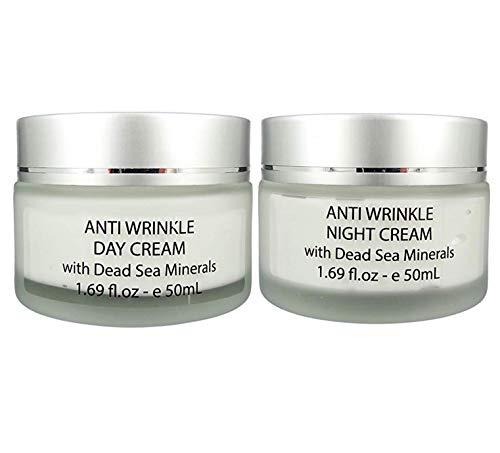 Anti-Wrinkle Hyaluronic Acid Day Cream Moisturizer (1.69 Oz) & Night Cream Moisturizer (1.69 Oz) With Dead Sea Minerals