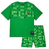 Minecraft Pijama Niño, Set 2 Piezas Pijamas Niños Cortos, Ropa de Niño 100% Algodon, Regalos para Niños y Adolescentes Edad 5-14 Años (Verde, 11-12 años)