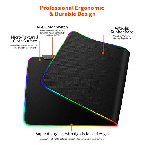 rnairni RGB Soft Gaming Mouse Pad Large, Oversized Glowing Led Extended Mousepad ,Non-Slip Rubber Base Computer Keyboard Pad Mat,31.5X 15.8in (Cartoon World Map) Photo #4