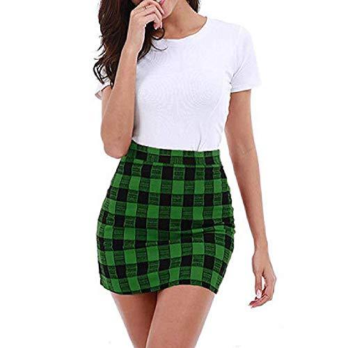 U/A Mujer De Talle Alto Vintage Plaid Algodón Mini Faldas De La Escuela Niña Cremallera Negro Check Print Faldas Cortas
