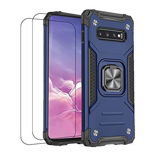 Carcasa compatible con Samsung S10 Plus de silicona TPU con 2 piezas de cristal templado, carcasa protectora de 360 grados, carcasa rosa con anillo y soporte para coche (azul, Samsung S10 Plus)