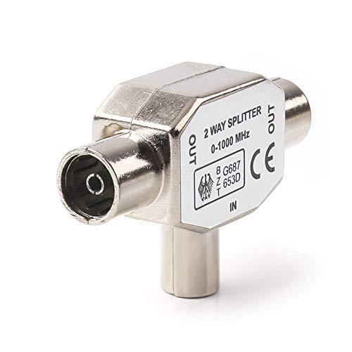 HUANGTAOLI Distributore Antenna Splitter in Metallo Ripartitore 1 IN Maschio 2 OUT Femmina TV Sdoppiatore Coassiale Adattatore con 0-1000 MHz