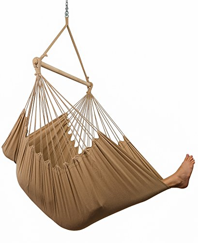 Hammock Sky XXL Hammock Chair Swing Patio, Porch, Bedroom, Backyard, Indoor Outdoor - Includes Hanging Hardware Drink Holder (Iced Coffee)