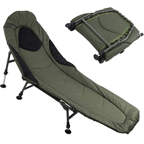 Cikonielf Campingstuhl, neigbar, 190 x 80 x 40 cm, Klappstuhl, Stahlrahmen, verstellbare Rückenlehne, Traglast 150 kg