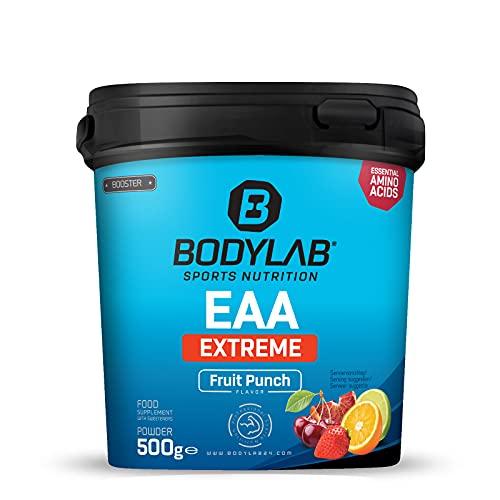 Bodylab24 EAA Extreme 500g, Essentielle Aminosäuren angereichert mit 1,5g Glutamin, 1g Alanin und den Vitaminen B6 und B3 als fruchtiges Getränk für Regeneration und Muskelaufbau, Fruchtmix