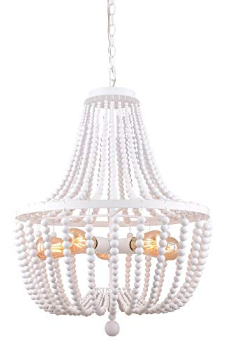 Alice House 21' Wood Bead Chandeliers, Rustic White Finish, 5 Light Wood Beaded Pendant Light for Dining Room, Kitchen, Living Room, Entryway and Bedroom AL9031-P5