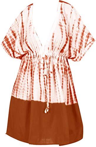 LA LEELA encubrimientos Kimono para Las Mujeres del Traje de baño Calabaza Naranja_Y460 ES TAMAÑO: 42 (L) - 50 (2XL)