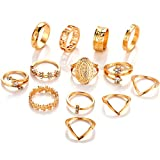 YUESEN Vintage Golden Ringe Fingerring Set 13 Stück Ringe Set Damen Mädchen Ring Vintage Mode...