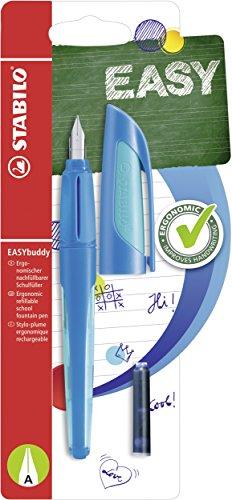 Schulfüller mit Anfänger-Feder A - STABILO EASYbuddy in dunkelblau/hellblau - Schreibfarbe blau (löschbar) - Einzelstift  - inklusive Patrone