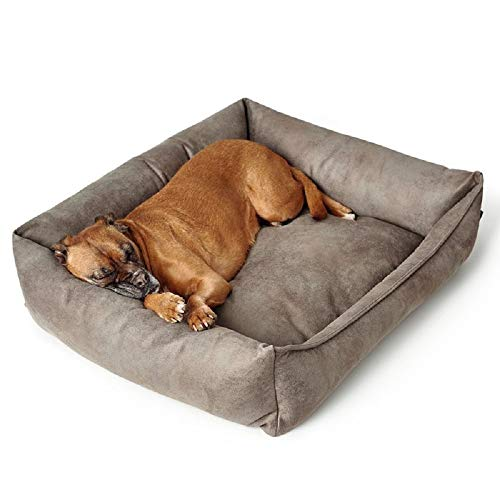 Elegante cama para perro de cuero artificial cubierta gruesa acolchada borde durable