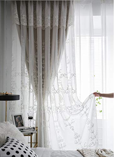 Admir European Style Blackout Curtain Jacquard,Luxury Sheer Curtain Voile 1pc,Double Layer Curtains Fringe with Beads-Beige Grommet 100x270cm(39x106in)
