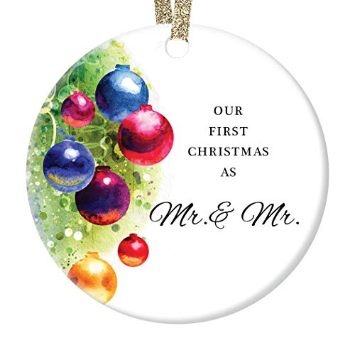 DIGIBUDDHA Gay Couple Marriage Christmas Ornament Gift Our First Christmas Married Mr & Mr Husband Life Partners Wedding Present Festive Holiday Ceramic Keepsake 3' Flat Porcelain w Ribbon & Free Box