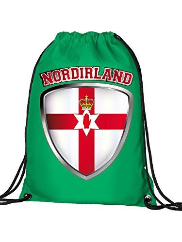 Golebros Nordirland Northern Ireland Fan Artikel 4743 Fuss Ball Turn Sport Beutel Unisex EM 2020 WM 2022 Trikot Flagge Fahne Kinder Kids Junge Mädchen Grün