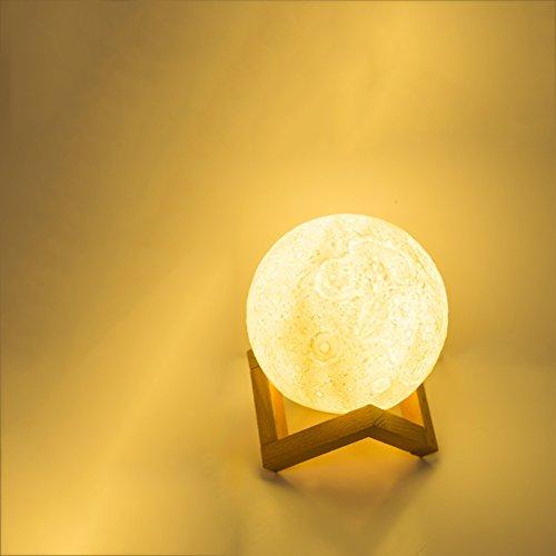 Nightlight,Moon Glow Ball Night Light 3D Print Moonlight Creative Personality lamp Light trichromatic Light Regulation Decorative Lights Moon Shadow Edition 18cm-A