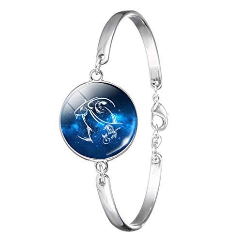 XIHUANNI Pulsera clásica de plata del zodiaco, pulsera de cristal de la moda de la gema del tiempo, joyería de moda regalo para novias padres aniversario cumpleaños