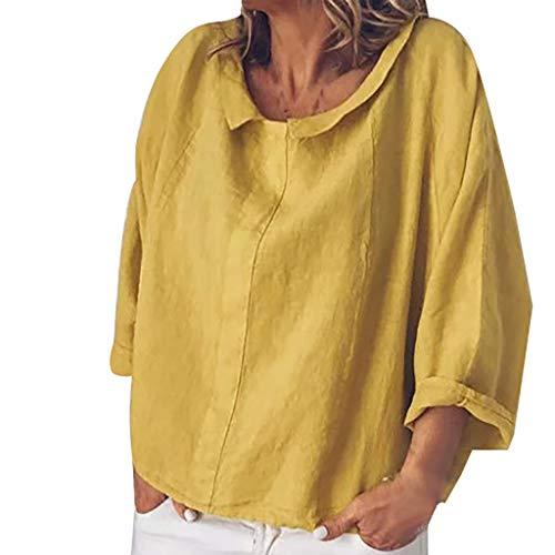 iYmitz 3/4-Arm Damen Streetwear Einfarbig Rundausschnitt Leinen Frauen Freizeit Bluse Sommer Freizeithemd(Gelb,EU-50/CN-5XL)