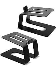 Stageek Para aluminiowych stojaków na głośniki biurkowe, uniwersalny stojak na głośniki biurkowe do monitorów studyjnych, półek na książki głośniki komputerowe, czarny