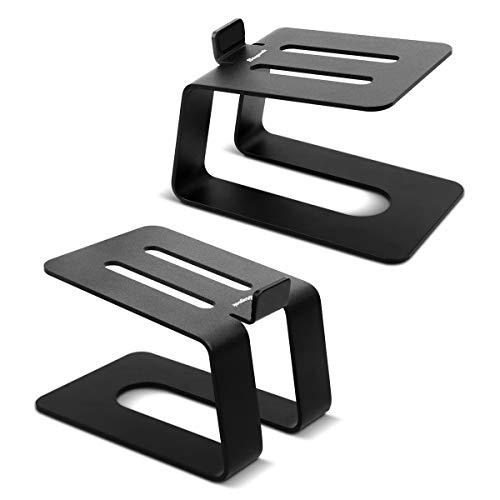 Stageek Stand per Diffusori da Desktop, Coppia Di Supporti Per Diffusori in Alluminio, Supporto da Tavolo Universale per Altoparlanti per Computer da scaffale Piccolo e Medio, Nero