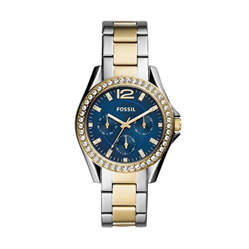 Fossil Women's Riley Quartz Stainless Multifunction Watch, Color: 2T Silver/Gold, Blue Dial (Model: ES4734)
