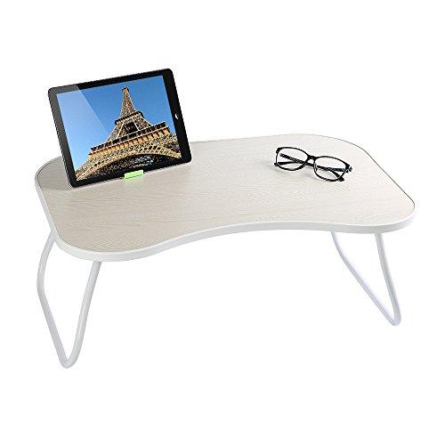 Homple - Mesa de ordenador portátil, multifunción, escritorio con patas plegables y tamaño portátil, color blanco 1