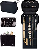 Pink Larus Travel Jewelry Organizer. Tangle-Free Necklace with Roll Out Mat, Earring Card for Studs, Drop and Hoops, and Ring Organizer. Black Compact Case Fits Perfectly in a Carry On!