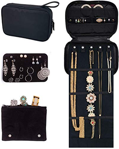 Pink Larus Travel Jewelry Organizer TangleFree Necklace with Roll Out Mat Earring Card for Studs Drop and Hoops and Ring Organizer Black Compact Case Fits Perfectly in a Carry On