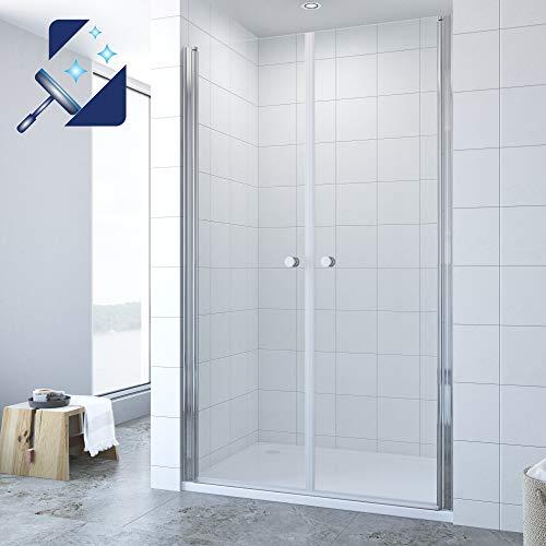 AQUABATOS® 80 x 195 cm Duschabtrennung Duschtür aus 6mm ESG Glas mit Nano Beschichtung Pendeltür Dusche Duschtür in Nische Doppel Schwingtür Duschabtrennung Duschwand Glas