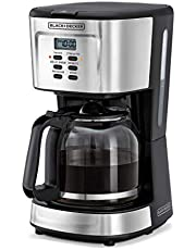 Black+Decker 900W 12 Cup 24 Hours Programmable Coffee Maker with 1.5L Glass Carafe and Keep Warm Feature for Drip Coffee and Espresso, Black - DCM85-B5, 2 Years Warranty