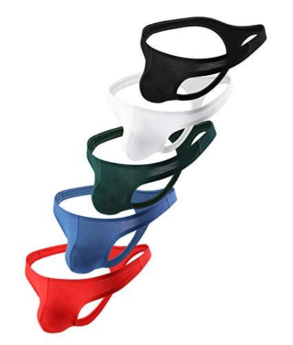 Mens Thong Underwear T-Back Microfiber Modal Bikini Briefs (5Pack,S)