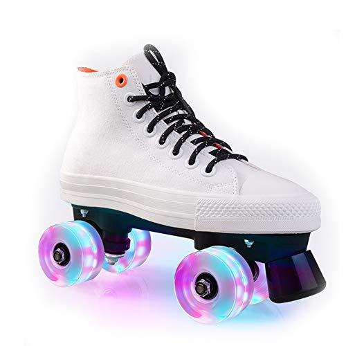 Pinkskattings@ Kinder Rollschuh Rollerskates Skates Mädchen Frauen Rollen Inliner Alle Räder Leuchten, Mehrere Farben,Weiß,36