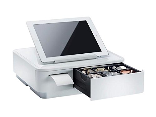 Star Micronics 39650010 Model MPOP10 mPOP with 2' Integrated Printer and Cash Drawer, Universal Tablet Stand, Internal Power Supply, White