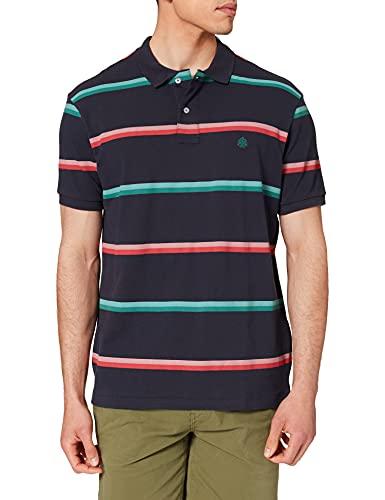 Springfield Polo Rayas Camiseta, Azul Oscuro, L para Hombre