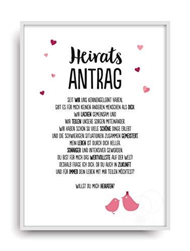 Geschenk Karte HEIRATSANTRAG 1 Kunstdruck Hochzeit Liebe Frau Mann heiraten Bild ohne Rahmen DIN A4