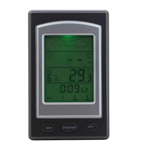 WSWJQY Innenthermometer der Wetterstation LCD-Großbild-Multifunktions-Datumsanzeige Wettervorhersage Alarmfunktion Innenthermometer Funk-Innenwetterstation