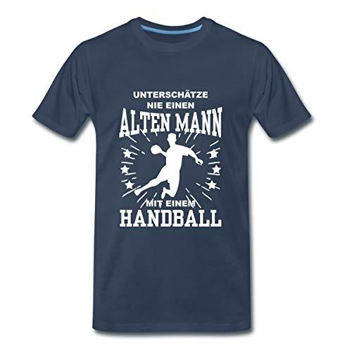 Unterschätze Nie Alten Mann Mit Handball Männer Premium T-Shirt, XL, Navy
