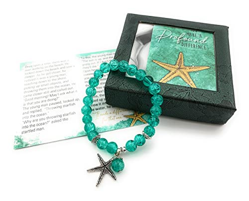 Smiling Wisdom - Starfish Stretch Story Bracelet Starfish Story Gift Set - You Make a Profound Difference - Friend Teacher Volunteer Caregiver Essential Worker - Woman Teen Girl - Appreciation - Aqua Blue Elastic Stretch - Medium