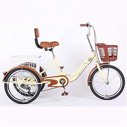 SN Triciclo 3 Ruedas para Adultos Crucero De Carga con Cesta para Comprar O Espalda Alta Bicicleta De Ejercicio para Hombres Mujeres Bicicleta (Color : Beige)